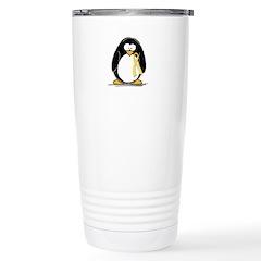 Yellow RIbbon penguin Stainless Steel Travel Mug