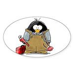 Plumber Penguin Oval Sticker