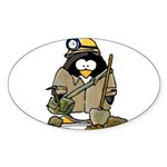 Miner Penguin Oval Sticker