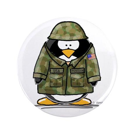 """US Soldier Penguin 3.5"""" Button"""