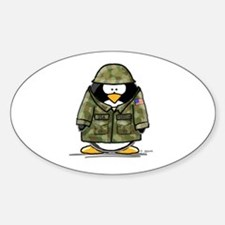 US Soldier Penguin Oval Decal