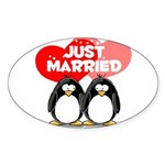 Just Married Penguins Oval Sticker