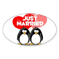 Just Married Penguins Oval Decal