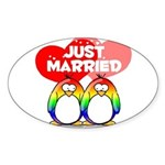Just Married Rainbow Penguins Oval Sticker