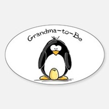 Grandma to Be Penguin Oval Decal