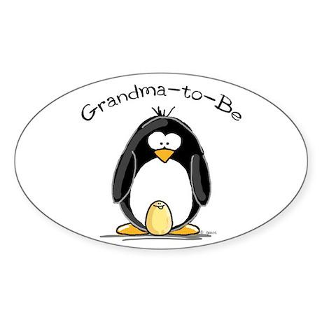Grandma to Be Penguin Oval Sticker