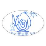 Primitive Penguin Oval Sticker