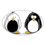Backwards Penguin Oval Sticker