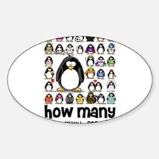 too many penguins Oval Decal