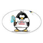 linux Penguin Oval Sticker