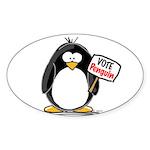 Vote Penguin Oval Sticker