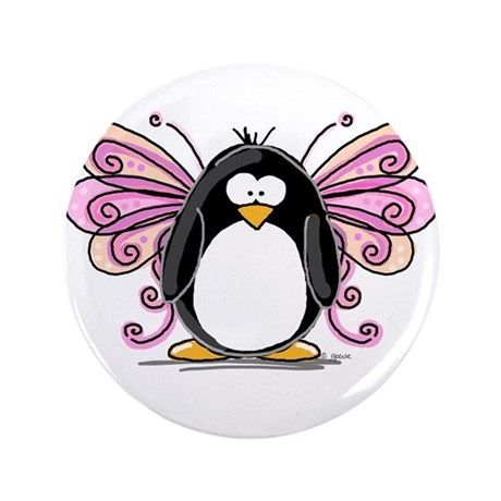 "Pink Fairy Penguin 3.5"" Button"