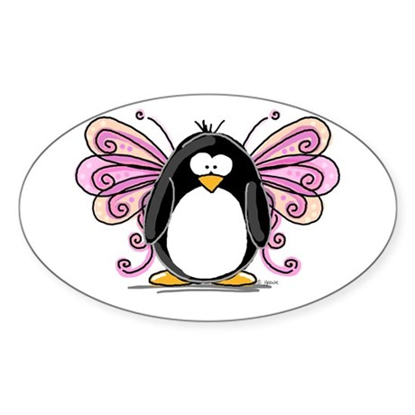 Pink Fairy Penguin Oval Sticker