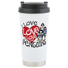 I Love Love More Penguins Travel Mug
