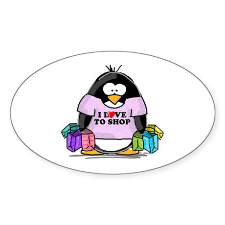 Love To Shop Penguin Oval Sticker