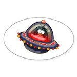 Evil Space Penguin Oval Sticker