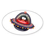 Evil Space Penguin Oval Sticker