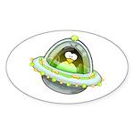 Space Penguin Oval Sticker