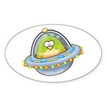 Space Alien Penguin Oval Sticker