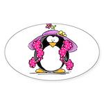Diva penguin Oval Sticker