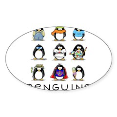 9 Penguins Oval Decal