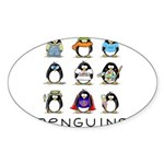 9 Penguins Oval Sticker