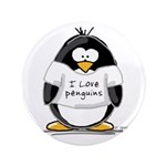 "I Love Penguins penguin 3.5"" Button"