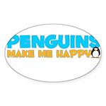Happy Penguins Oval Sticker