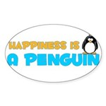 Penguin Happiness Oval Sticker
