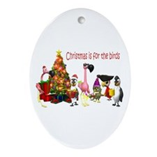 CHRISTMAS IS FOR THE BIRDS Oval Ornament