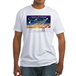 XmasSunrise/Tibet Ter Fitted T-Shirt
