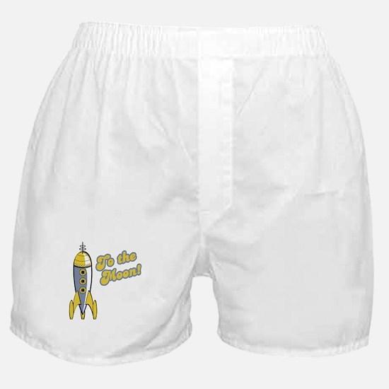To the Moon Retro Rocket Boxer Shorts