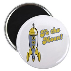 To the Moon Retro Rocket Magnet