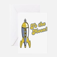 To the Moon Retro Rocket Greeting Card