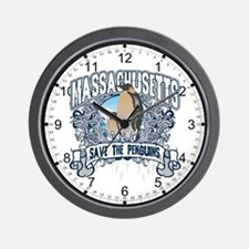 Save the Penguins Massachusetts Wall Clock
