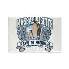 Save the Penguins Massachusetts Rectangle Magnet