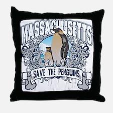 Save the Penguins Massachusetts Throw Pillow