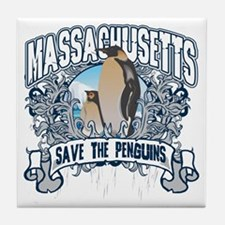 Save the Penguins Massachusetts Tile Coaster