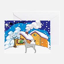 Log Cabin Weimaraner Greeting Card