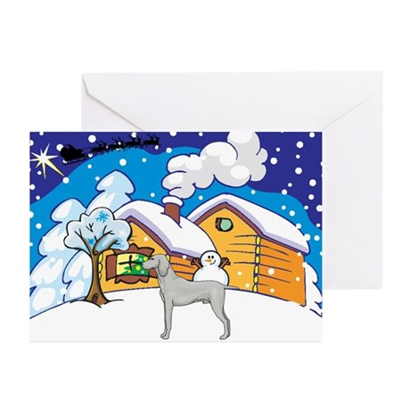 Log Cabin Weimaraner Greeting Cards (Pk of 20)