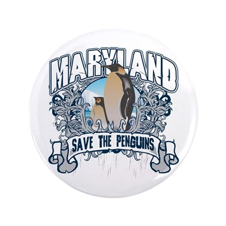 """Save the Penguins Maryland 3.5"""" Button"""