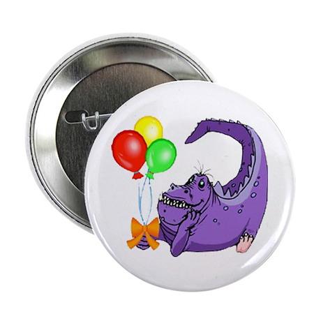"""1st Birthday Dinosaur Balloon Fun 2.25"""" Button (10"""