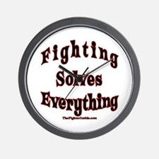 Fighting Solves Everything Wall Clock