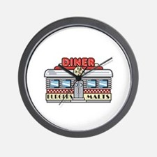 Retro Fast Food Diner Design Wall Clock