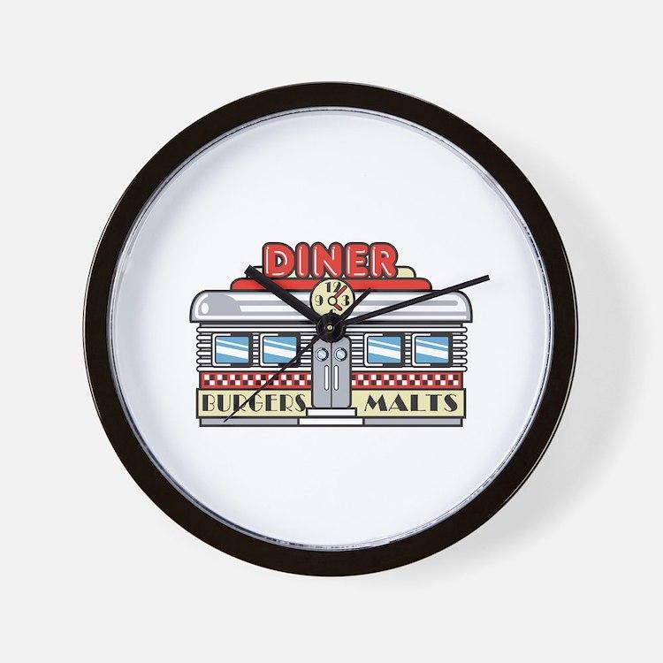 Retro Fast Food Diner Design Wall Clock