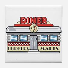 Retro Fast Food Diner Design Tile Coaster