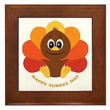 Happy Turkey Day Framed Tile