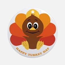 Happy Turkey Day Ornament (Round)