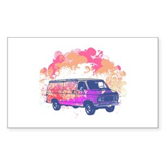 Retro Hippie Van Grunge Style Rectangle Sticker 1