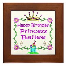 Happy Birthday Princess Bailee Framed Tile